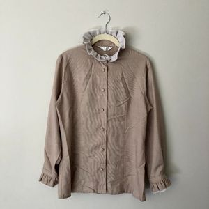 Ruffle Collar & Cuff Vintage Blouse Made in Japan